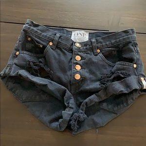 Distressed one teaspoon jean shorts